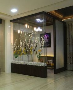 Best Pooja Room Design in India - GharPedia Glass Partition Designs, Living Room Partition Design, Pooja Room Door Design, Room Design Bedroom, Home Room Design, Room Partition Wall, Wood Partition, Partition Ideas, Living Room Divider