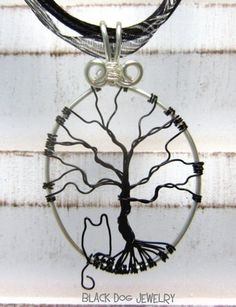 Christie Cottage: Tree of Life - Tuesday  Black Cat Wire Tree Of Life Necklace by BlackDogJewelry    on Artfire