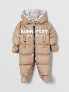 Logo Print Down-filled Puffer Suit in Walnut - Children Burberry United States , Luxury Baby Clothes, Winter Baby Clothes, Designer Baby Clothes, Cute Baby Clothes, Baby Boy Outfits, Kids Outfits, Burberry Kids, Baby Coat, Kids Logo