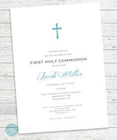 First Communion Invitation, Confirmation, Baptism, First Eucharist, Custom Colors PRINTABLE DIGITAL FILE