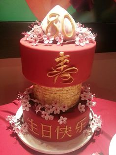 Chinese 80th birthday cake. Longevity,  cherry blossoms,  red, gold, heaven's peach, frills.