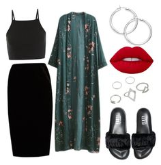 """dark glam"" by mirela-catarina on Polyvore featuring moda, Jupe By Jackie, WithChic e Puma"