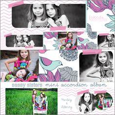 Fun girly mini accordion album template.