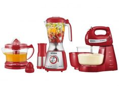 Kit Premium Inox Gourmet Red IV Mondial - com Liquidificador + Batedeira + Espremedor - Magazine Pitterpereira Kitchen Tools, Kitchen Gadgets, Kitchen Appliances, Tupperware, Red, Notebooks, Amanda, Smartphone, Youtube