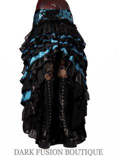 Ruffle Skirt, Black and Blue, Cabaret, Vaudeville, Steampunk, Vampire, Noir, Gothic, Belly Dance, Dark Fusion Boutique