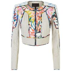 BCBGMAXAZRIA Palm Crop Jacket (2,720 CNY) ❤ liked on Polyvore featuring outerwear, jackets, white collarless jacket, cropped jacket, tapestry jacket, embroidered jacket and collarless jacket