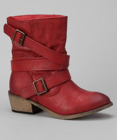 Take a look at this Deep Red Viole Boot by Bucco on #zulily today!