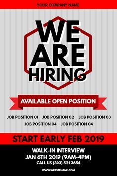 red hiring flyer design template click to customize hiring poster flyer design templates