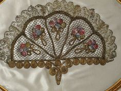 Framed 1920's French Metallic & Multi-Color Ribbon Roses Appliqué-Rare Large Size