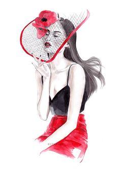 Lena Ker. Fashion illustration on Artluxe Designs.