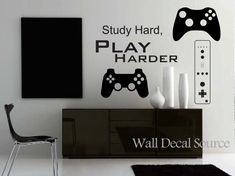 I like the set up, where the screan is offset from the console. ***AF**** Game Controllers Wall Decal Gamer Wall Decal by WallDecalSource Gamer Bedroom, Kids Bedroom, Bedroom Decor, Bedroom Interiors, Bedroom Ideas, Guy Bedroom, Trendy Bedroom, Deco Gamer, Man Cave Home Bar