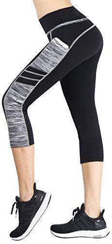 a00b84345e Sugar Pocket Women's Capris Tights Workout Running Leggings Yoga Pants M (BK /GREY)