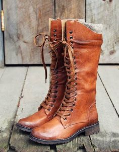 Brown Leather Long Lace Up Boots
