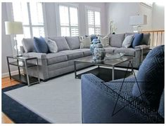 Navy Blue And Grey Living Room, Silver Living Room, Living Room Turquoise, Blue Living Room Decor, New Living Room, Blue Family Rooms, Family Room Decorating, Decorating Ideas, Living Room Inspiration