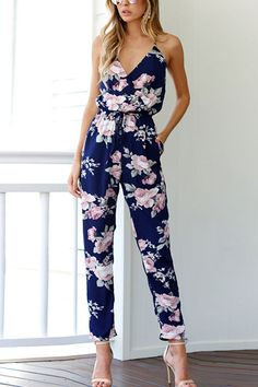 Cross Front V-neck Random Floral Print Jumpsuit in Blue
