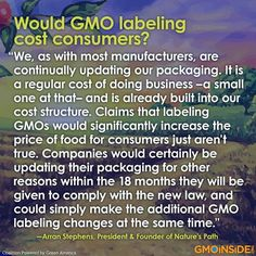 Would GMO Labeling Cost Consumers? More Here: https://www.facebook.com/GmoInside