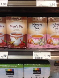 Men's and women's tea. | 21 Pointlessly Gendered Products  Can someone get me a keyboard for women? This unisex one is too big for my feminine hands.