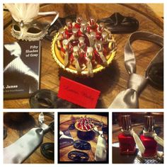 50 Shades of Grey Laters, Baby Tablescape | Lingerie Party Favors: Red Nail Polish with Grey Ties, Black Masks