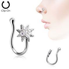 Starburst Cubic Zirconia Paved Non Piercing Faker Nose Clip -Faux – ol eye Fake Piercing, Ear Piercings, Septum, Nostril Ring, Fake Nose, Nose Hoop, Neck Massage, Baguette Diamond, Clip