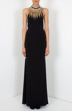 Jovani - 'Crystal Bead' Jersey Gown Black Front (JVN98114A)