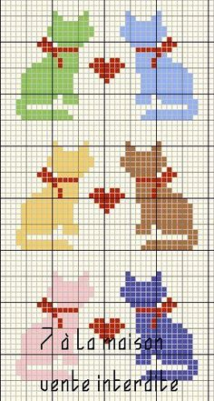 cats with heart (more cat cross stitch on this page)