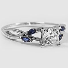 18K White Gold Willow Ring with Sapphire Accents // Set with a 0.80 Carat, Princess, Very Good Cut, G Color, VS1 Clarity Lab Diamond #BrilliantEarth
