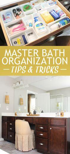 Master bath organization tips and tricks. So smart!!