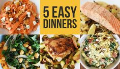 Clockwise, from left: Quinoa Salad With Carrot Ribbons Single-Skillet Salmon With Parsnips, Olives, and SageSpaghetti Squash With Bacon, Spinach, and Goat Cheese Chicken Thighs With Bacon, Brussels Sprouts and Apple Jus Maple-Roasted Chickpeas With Kale and Sweet Potato Mash