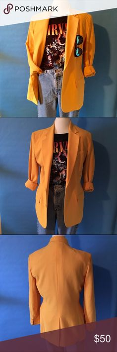 Vintage Donna Karan- DKNY blazer sz 10 This stunning 90s blazer by Donna Karan needs to be yours! If yellow is your color snatch this baby up and pair it with jeans and a graphic tee or style it over a simple black dress. In great shape! No stains, runs, snags or tears. Golden yellow color with matching lining.  Pockets have never even been opened! 90s size 10, or a 2017 8 :) DKNY Jackets & Coats Blazers