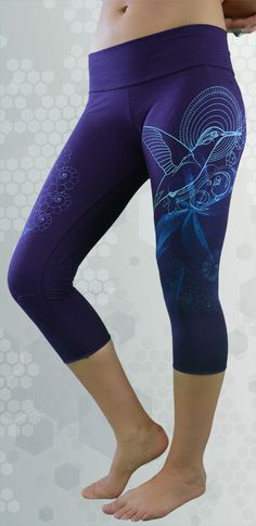 2ca82a1f720da Bamboo crop leggings. Purple leggings or yoga pants made from organic  bamboo fabric. Ethically
