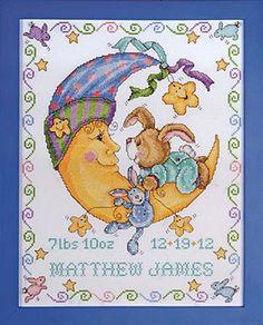 Bunny Baby Birth Sampler Tobin Baby Cross Stitch Kit by Design Works