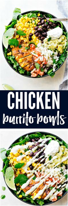 Chicken Burrito Bowls are loaded with corn, black beans, rice, chicken, guac, sour cream and an amazing dressing drizzled on top! These are great and healthy meal that you will love!