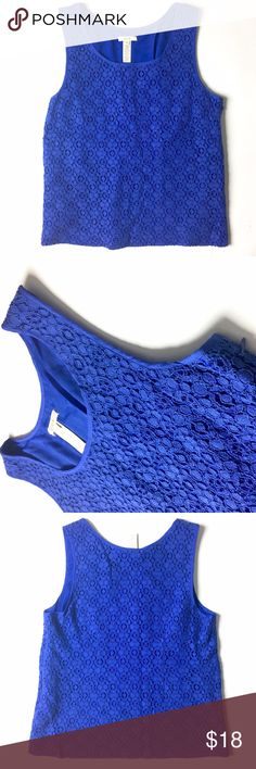 J. Crew Eyelet Top Ready for Spring? 🌷🌸🌺  Details: J. Crew sleeveless top in an eyelet pattern with matching slip undershirt in a deep blue color. Side-zipper closure. Near-perfect condition in a size 8P.   Kate Harrington Boutique does not trade or negotiate price in the comment section. However, for most items we may consider reasonable offers.   Happy Poshing! J. Crew Tops