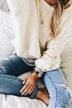 sweatshirt + stripes + denim #ootd