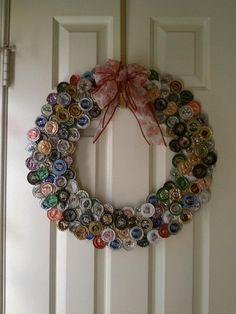 Great idea for the holidays! Bottle Cap Wreath Custom Made to Order by… Bottle Cap Projects, Bottle Cap Crafts, Beer Bottle Caps, Bottle Cap Art, Glue Crafts, Diy And Crafts, Recycled Crafts, Beer Cap Crafts, Navidad Diy