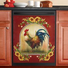 Rooster and Sunflowers Art on Canvas by artist Linda Paul | Kitchen on