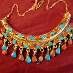 22ct #gold, #coral, #turquoise #necklace #Uzbekistan