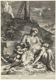 Maria met dode lichaam van Christus op schoot, zittend onder het kruis, Pieter de Bailliu (I), 1639