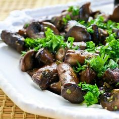 Roasted Mushrooms with Garlic, Thyme, and Balsamic Vinegar are am amazingly delicious side dish that's ridiculously easy to make.  [from KalynsKitchen.com] #DeliciouslyHealthyLowCarb