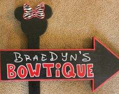 Wood Minnie Mouse BOWTIQUE Specialty Sign - Customizable - Outdoor Post - Birthday Party Decorations - Bedroom Decor