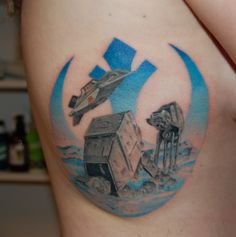 Star Wars Battle of Hoth Tattoo by New Moon Tattoo in Ottawa, Canada.