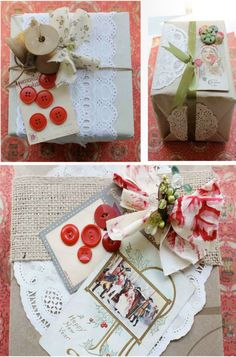 """Heather's ideas are very much in line with the current, """"Granny Chic"""" trend so the doilies, mismatched fabrics, vintage papers, buttons, etc. are all things that you can easily find at craft stores, fabric shops, flea markets or your grandmother's attic!"""