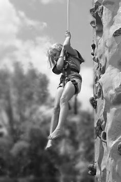 Young Rock Climber  by Eric Bryden - Babies & Children Children Candids ( child, climbing, black & whie, girl, female, rock )
