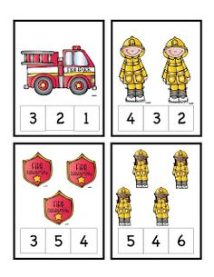 This site makes you pay for these little packets, but I wanted to post it to give myself ideas on how to incorporate numbers in preschool. Clothespins to Identify the Number....Preschool Printables: Fire Safety