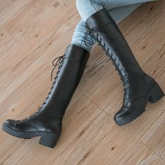 PU Toe+style:Round+head Heel+shape,+rough+with Shoes+production+process:+martin+boots popular+elements,Waterproof+table,+leather+stitch. High Heel Boots, Heeled Boots, Shoe Boots, Calf Boots, Goth Shoes, Shoes Heels, Biker Boots, Riding Boots, Botas Grunge