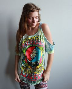 Grateful Dead Steal Your Face Tie Dye Eco Friendly Cut Out open Off The Shoulder Peep Shoulder Upcycled Tshirt/Tee/Top/Shirt Womens One Size