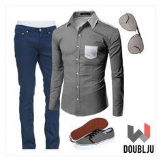 """Doublju Men Long Sleeve Yoke Line Point Color Designed Casual Shirts"" by doublju-company ❤ liked on Polyvore"