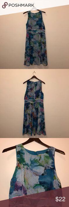 Floral Chiffon Dress Floral boatneck a line chiffon dress, midi length, never worn Adrianna Papell Dresses Midi