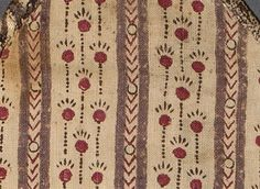 Close-up of one of the fabrics used in a Housewife/Hussif c1780-1800 Museum Object Number: 1960.0196