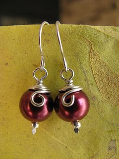 Wine Red Wirewrapped Pearls